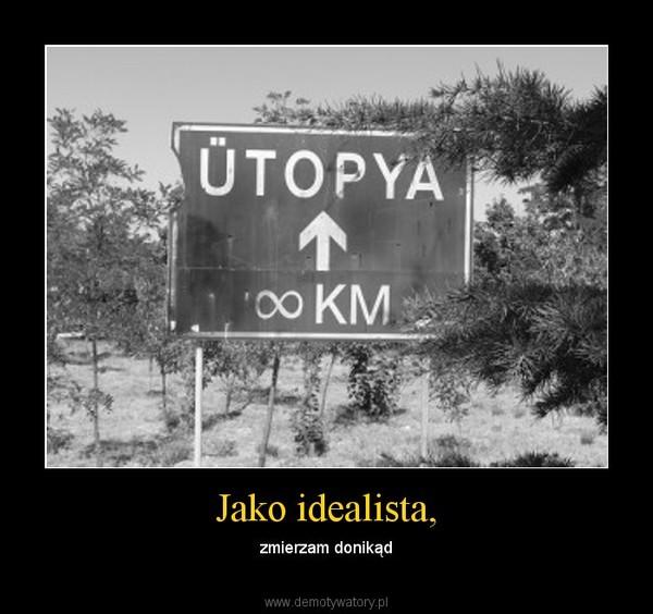 Jako idealista, – zmierzam donikąd