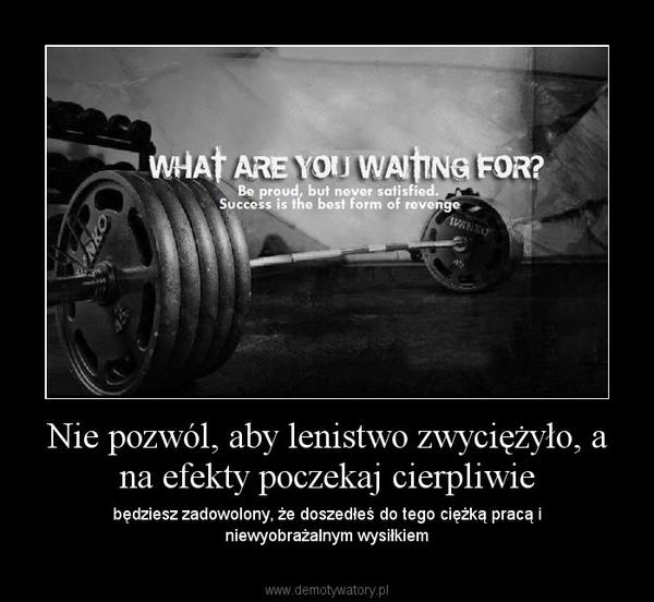 Nie pozwól, aby lenistwo zwyciężyło, a na efekty poczekaj cierpliwie – będziesz zadowolony, że doszedłeś do tego ciężką pracą i niewyobrażalnym wysiłkiem