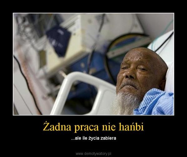 Żadna praca nie hańbi – ...ale ile życia zabiera