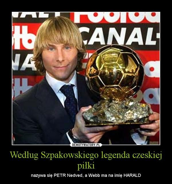 Według Szpakowskiego legenda czeskiej piłki – nazywa się PETR Nedved, a Webb ma na imię HARALD