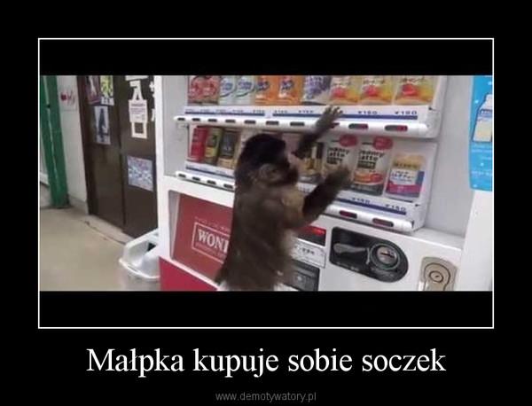 Małpka kupuje sobie soczek –
