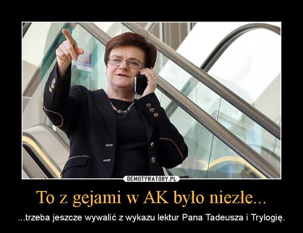 To z gejami w AK było niezłe... – ...trzeba jeszcze wywalić z wykazu lektur Pana Tadeusza i Trylogię.