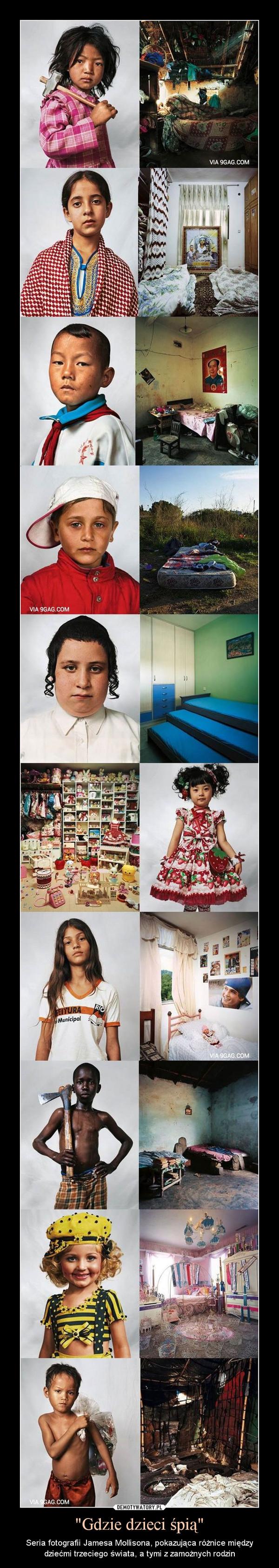 """""""Gdzie dzieci śpią"""" – Seria fotografii Jamesa Mollisona, pokazująca różnice między dziećmi trzeciego świata, a tymi z zamożnych rodzin"""