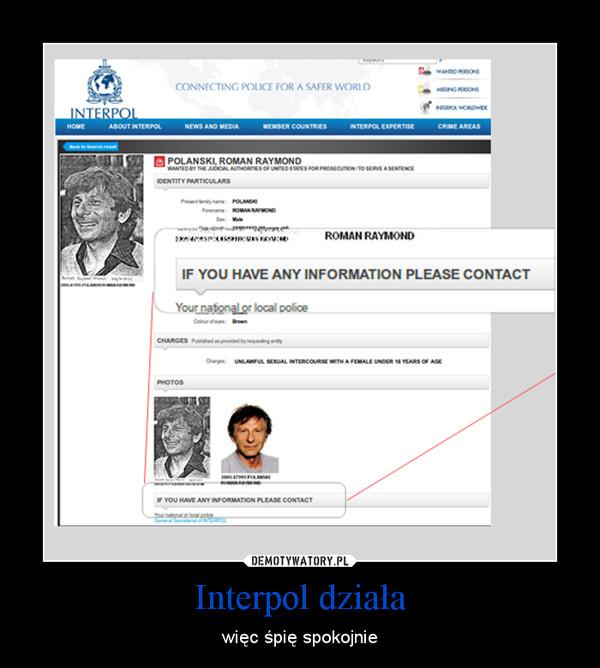 Interpol działa – więc śpię spokojnie