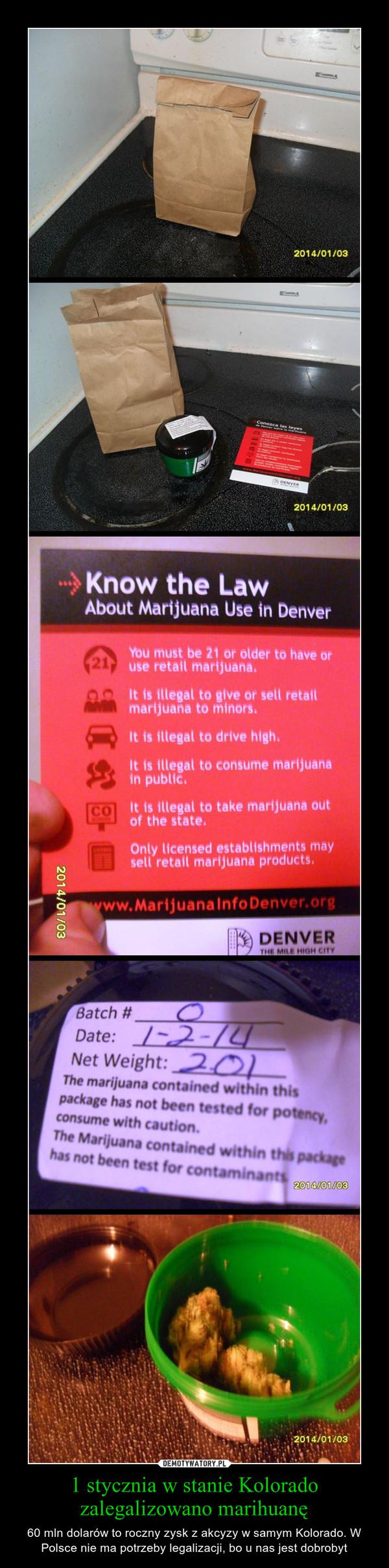 1 stycznia w stanie Kolorado zalegalizowano marihuanę – 60 mln dolarów to roczny zysk z akcyzy w samym Kolorado. W Polsce nie ma potrzeby legalizacji, bo u nas jest dobrobyt
