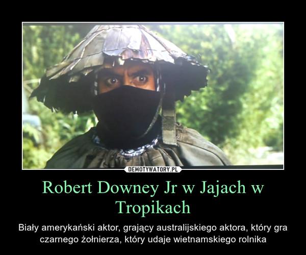 Robert Downey Jr w Jajach w Tropikach – Biały amerykański aktor, grający australijskiego aktora, który gra czarnego żołnierza, który udaje wietnamskiego rolnika