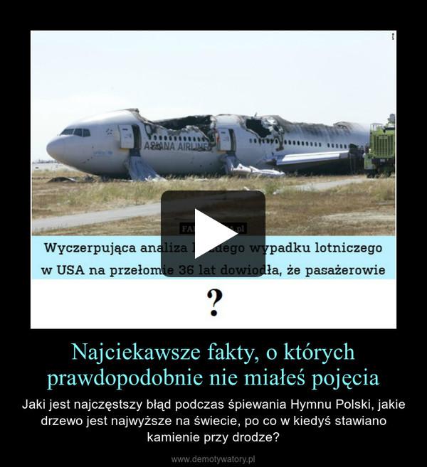 Najciekawsze fakty, o którychprawdopodobnie nie miałeś pojęcia – Jaki jest najczęstszy błąd podczas śpiewania Hymnu Polski, jakie drzewo jest najwyższe na świecie, po co w kiedyś stawiano kamienie przy drodze?