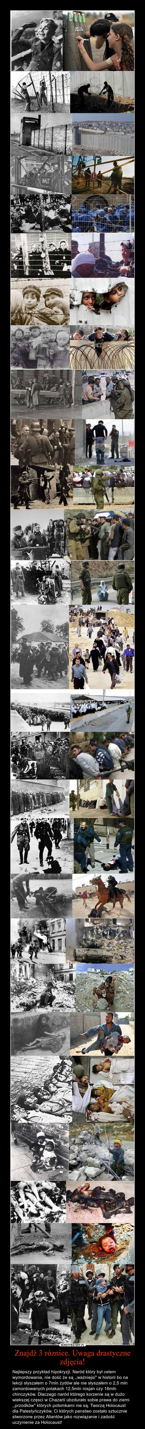 Znajdź 3 róznice. Uwaga drastyczne zdjęcia! – Najlepszy przykład hipokryzji. Naród który był celem wymordowania, nie dość że są ,,ważniejsi'' w historii bo na lekcji słyszałem o 7mln żydów ale nie słyszałem o 2,5 mln zamordowanych polakach 12,5mln rosjan czy 16mln chinczyków. Dlaczego naród którego korzenie są w dużo wiekszej częsci w Chazarii ubzdurało sobie prawa do ziemi ,,przodków'' których potomkami nie są. Tworzą Holocaust dla Palestyńczyków, Ci których panstwo zostało sztucznie stworzone przez Aliantów jako rozwiązanie i zadość uczynienie za Holocaust!