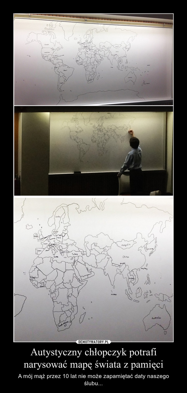 Autystyczny chłopczyk potrafi narysować mapę świata z pamięci – A mój mąż przez 10 lat nie może zapamiętać daty naszego ślubu...