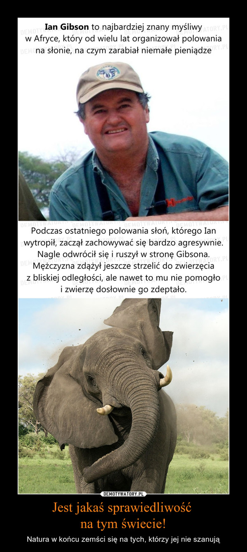 Jest jakaś sprawiedliwość na tym świecie! – Natura w końcu zemści się na tych, którzy jej nie szanują Ian Gibson to najbardziej znany myśliwy w Afryce, który od wielu lat organizował polowania na słonie, na czym zarabiał niemałe pieniądzePodczas ostatniego polowania słoń, którego Ian wytropił, zaczął zachowywać się bardzo agresywnie.Nagle odwrócił się i ruszył w stronę Gibsona. Mężczyzna zdążył jeszcze strzelić do zwierzęcia z bliskiej odległości, ale na nic mu się to zdało i zwierzę dosłownie go zdeptało.