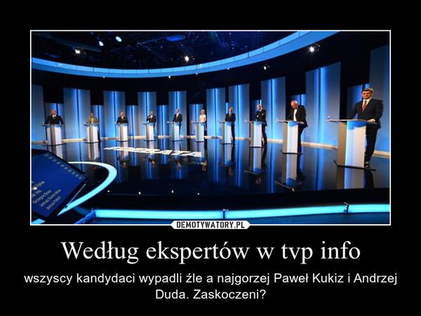 Według ekspertów w tvp info – wszyscy kandydaci wypadli źle a najgorzej Paweł Kukiz i Andrzej Duda. Zaskoczeni?