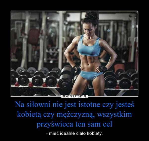 Na siłowni nie jest istotne czy jesteś kobietą czy mężczyzną, wszystkim przyświeca ten sam cel – - mieć idealne ciało kobiety.