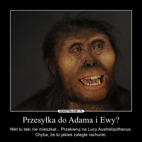 Przesyłka do Adama i Ewy? – Nikt tu taki nie mieszkał... Przekieruj na Lucy Australopithecus. Chyba, że to jakieś zaległe rachunki.