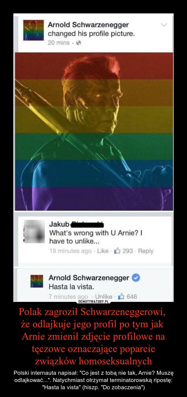 """Polak zagroził Schwarzeneggerowi, że odlajkuje jego profil po tym jak Arnie zmienił zdjęcie profilowe na tęczowe oznaczające poparciezwiązków homoseksualnych – Polski internauta napisał: """"Co jest z tobą nie tak, Arnie? Muszę odlajkować..."""". Natychmiast otrzymał terminatorowską ripostę: """"Hasta la vista"""" (hiszp. """"Do zobaczenia"""")"""