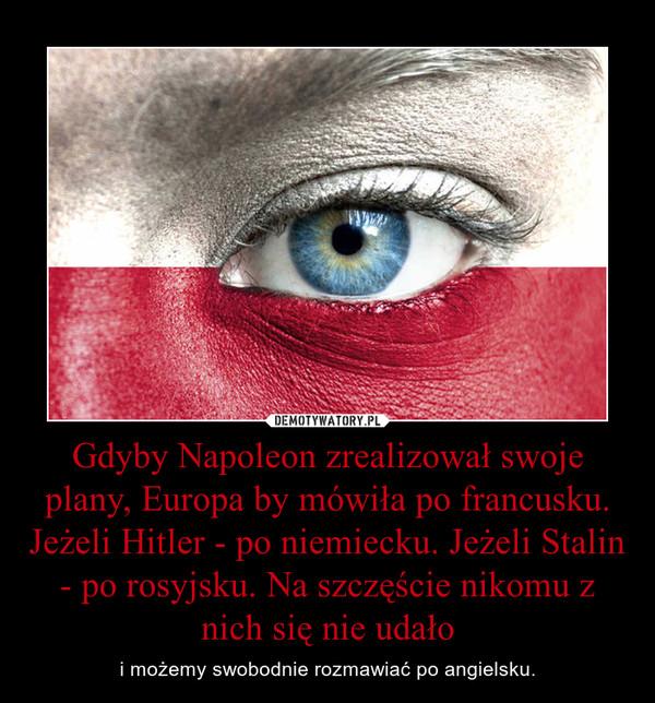 Gdyby Napoleon zrealizował swoje plany, Europa by mówiła po francusku. Jeżeli Hitler - po niemiecku. Jeżeli Stalin - po rosyjsku. Na szczęście nikomu z nich się nie udało – i możemy swobodnie rozmawiać po angielsku.