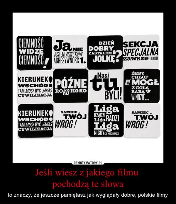 Jeśli wiesz z jakiego filmu pochodzą te słowa – to znaczy, że jeszcze pamiętasz jak wyglądały dobre, polskie filmy