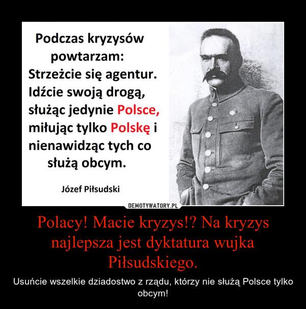 Polacy! Macie kryzys!? Na kryzys najlepsza jest dyktatura wujka Piłsudskiego. – Usuńcie wszelkie dziadostwo z rządu, którzy nie służą Polsce tylko obcym!
