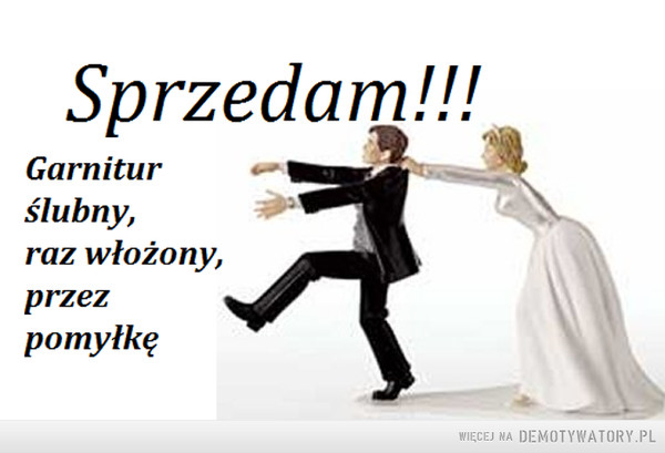 Pilne! –  Sprzedam!Garnitur ślubny, raz włożony, przez pomyłkę