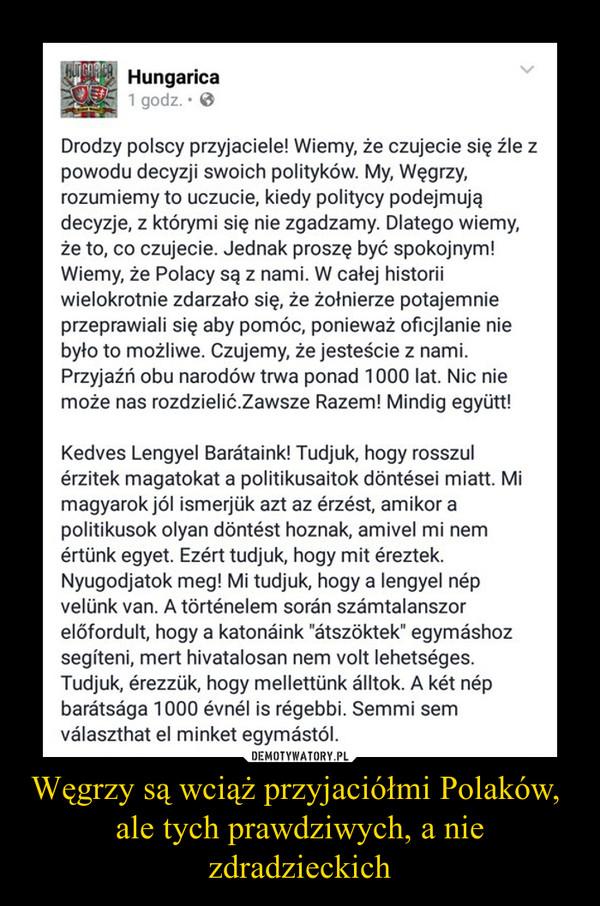Węgrzy są wciąż przyjaciółmi Polaków, ale tych prawdziwych, a nie zdradzieckich –