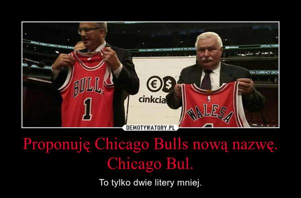 Proponuję Chicago Bulls nową nazwę. Chicago Bul. – To tylko dwie litery mniej.
