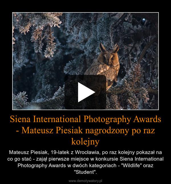 """Siena International Photography Awards - Mateusz Piesiak nagrodzony po raz kolejny – Mateusz Piesiak, 19-latek z Wrocławia, po raz kolejny pokazał na co go stać - zajął pierwsze miejsce w konkursie Siena International Photography Awards w dwóch kategoriach - """"Wildlife"""" oraz """"Student""""."""