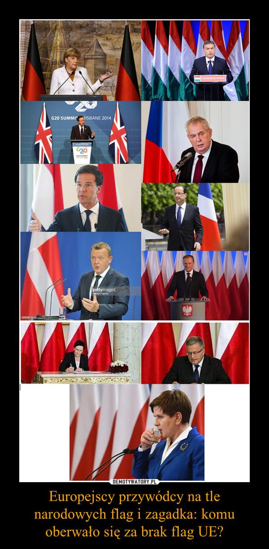 Europejscy przywódcy na tle narodowych flag i zagadka: komu oberwało się za brak flag UE? –