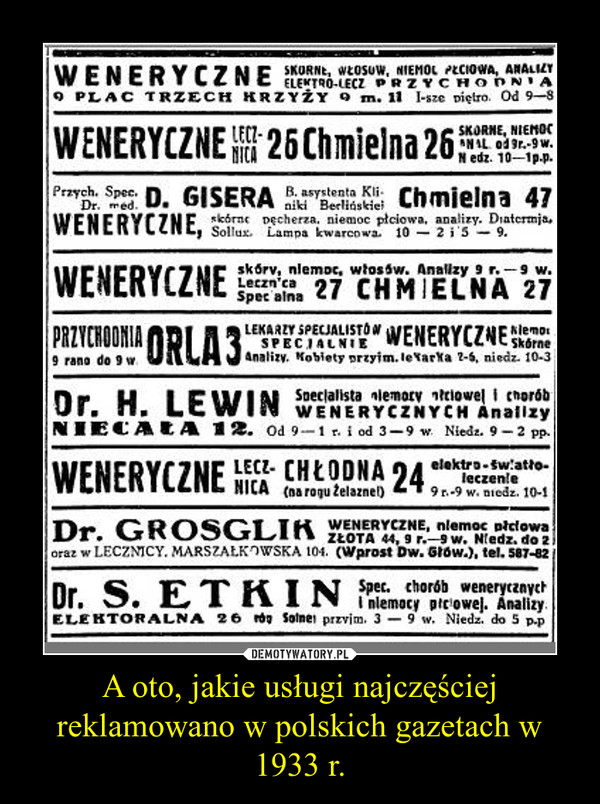 A oto, jakie usługi najczęściej reklamowano w polskich gazetach w 1933 r. –