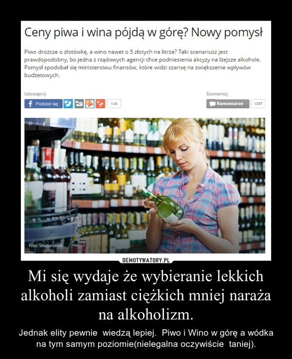 Mi się wydaje że wybieranie lekkich alkoholi zamiast ciężkich mniej naraża na alkoholizm. – Jednak elity pewnie  wiedzą lepiej.  Piwo i Wino w górę a wódka na tym samym poziomie(nielegalna oczywiście  taniej).
