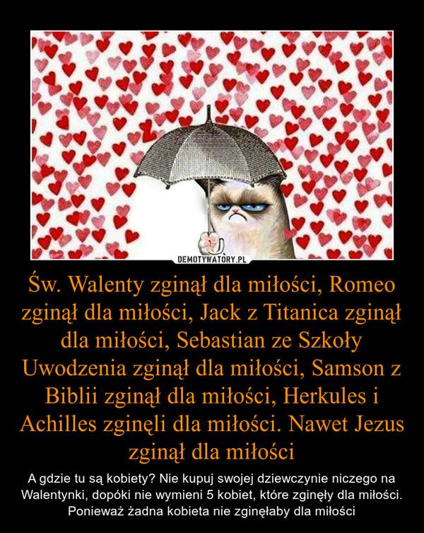 Św. Walenty zginął dla miłości, Romeo zginął dla miłości, Jack z Titanica zginął dla miłości, Sebastian ze Szkoły Uwodzenia zginął dla miłości, Samson z Biblii zginął dla miłości, Herkules i Achilles zginęli dla miłości. Nawet Jezus zginął dla miłości – A gdzie tu są kobiety? Nie kupuj swojej dziewczynie niczego na Walentynki, dopóki nie wymieni 5 kobiet, które zginęły dla miłości. Ponieważ żadna kobieta nie zginęłaby dla miłości