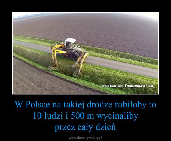 W Polsce na takiej drodze robiłoby to10 ludzi i 500 m wycinalibyprzez cały dzień –