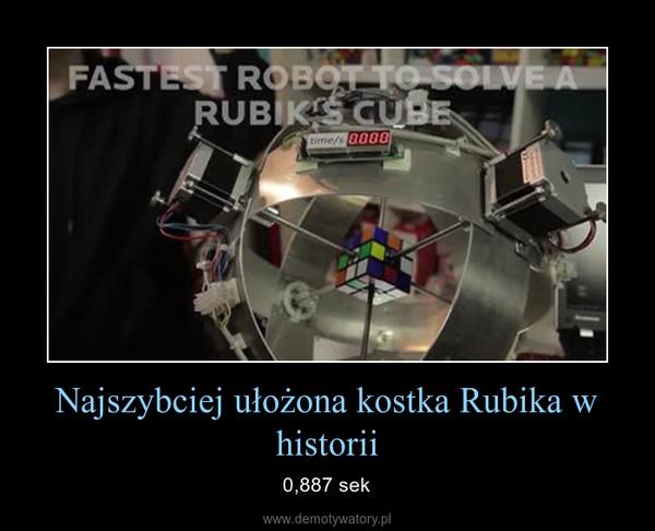 Najszybciej ułożona kostka Rubika w historii – 0,887 sek