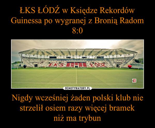 Nigdy wcześniej żaden polski klub nie strzelił osiem razy więcej bramekniż ma trybun –