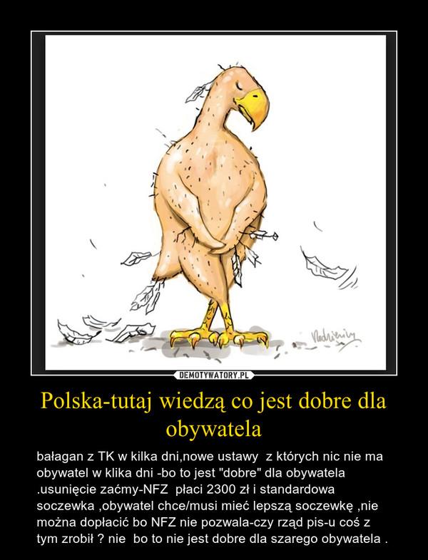 """Polska-tutaj wiedzą co jest dobre dla obywatela – bałagan z TK w kilka dni,nowe ustawy  z których nic nie ma obywatel w klika dni -bo to jest """"dobre"""" dla obywatela .usunięcie zaćmy-NFZ  płaci 2300 zł i standardowa soczewka ,obywatel chce/musi mieć lepszą soczewkę ,nie można dopłacić bo NFZ nie pozwala-czy rząd pis-u coś z tym zrobił ? nie  bo to nie jest dobre dla szarego obywatela ."""