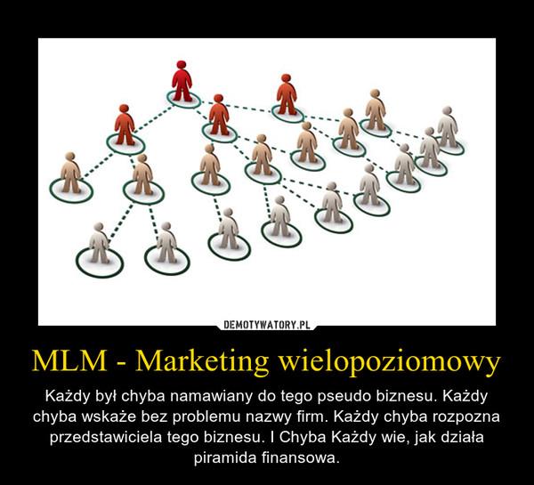 MLM - Marketing wielopoziomowy – Każdy był chyba namawiany do tego pseudo biznesu. Każdy chyba wskaże bez problemu nazwy firm. Każdy chyba rozpozna przedstawiciela tego biznesu. I Chyba Każdy wie, jak działa piramida finansowa.