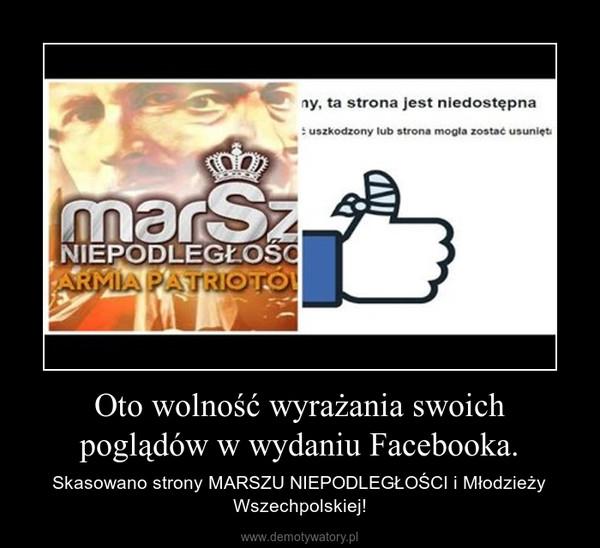 Oto wolność wyrażania swoich poglądów w wydaniu Facebooka. – Skasowano strony MARSZU NIEPODLEGŁOŚCI i Młodzieży Wszechpolskiej!