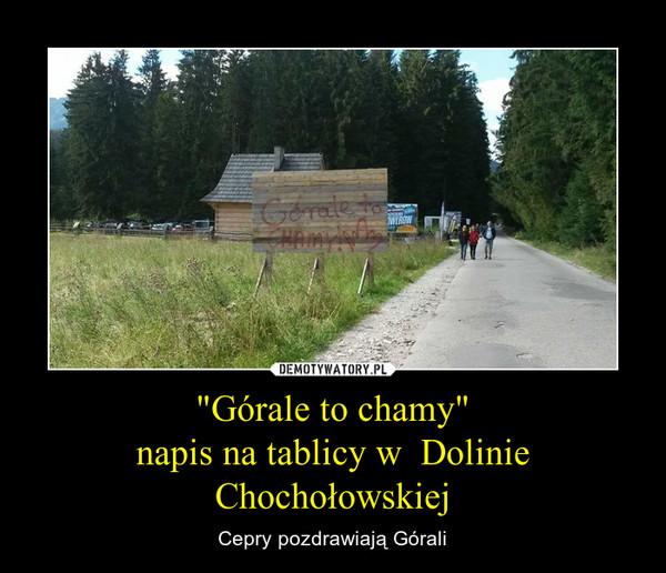 """""""Górale to chamy""""napis na tablicy w  Dolinie Chochołowskiej – Cepry pozdrawiają Górali"""