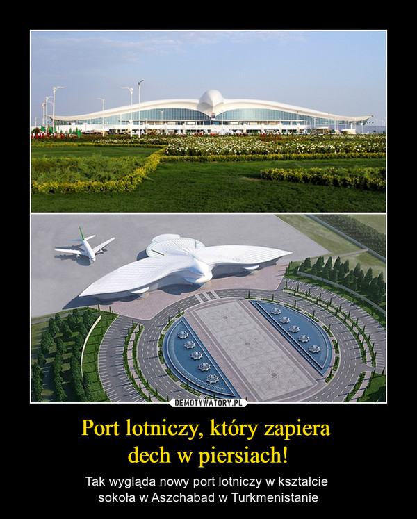 Port lotniczy, który zapiera dech w piersiach! – Tak wygląda nowy port lotniczy w kształcie sokoła w Aszchabad w Turkmenistanie