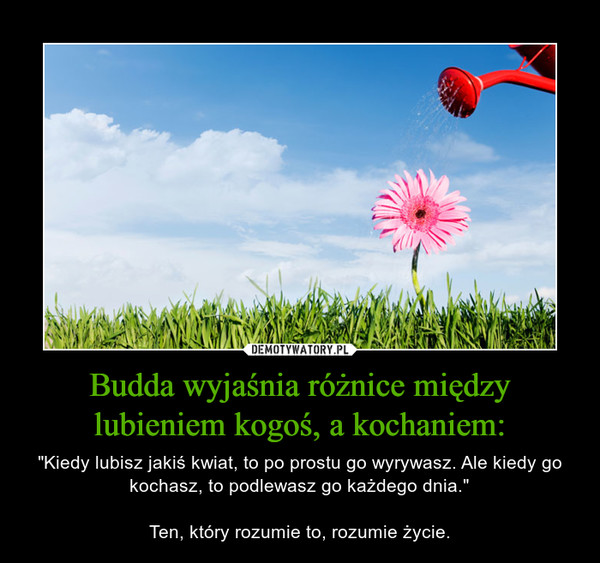 """Budda wyjaśnia różnice między lubieniem kogoś, a kochaniem: – """"Kiedy lubisz jakiś kwiat, to po prostu go wyrywasz. Ale kiedy go kochasz, to podlewasz go każdego dnia.""""Ten, który rozumie to, rozumie życie."""
