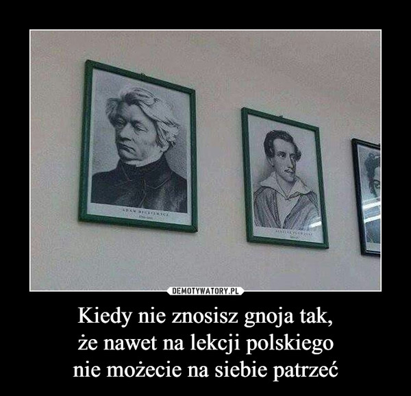 Kiedy nie znosisz gnoja tak,że nawet na lekcji polskiegonie możecie na siebie patrzeć –