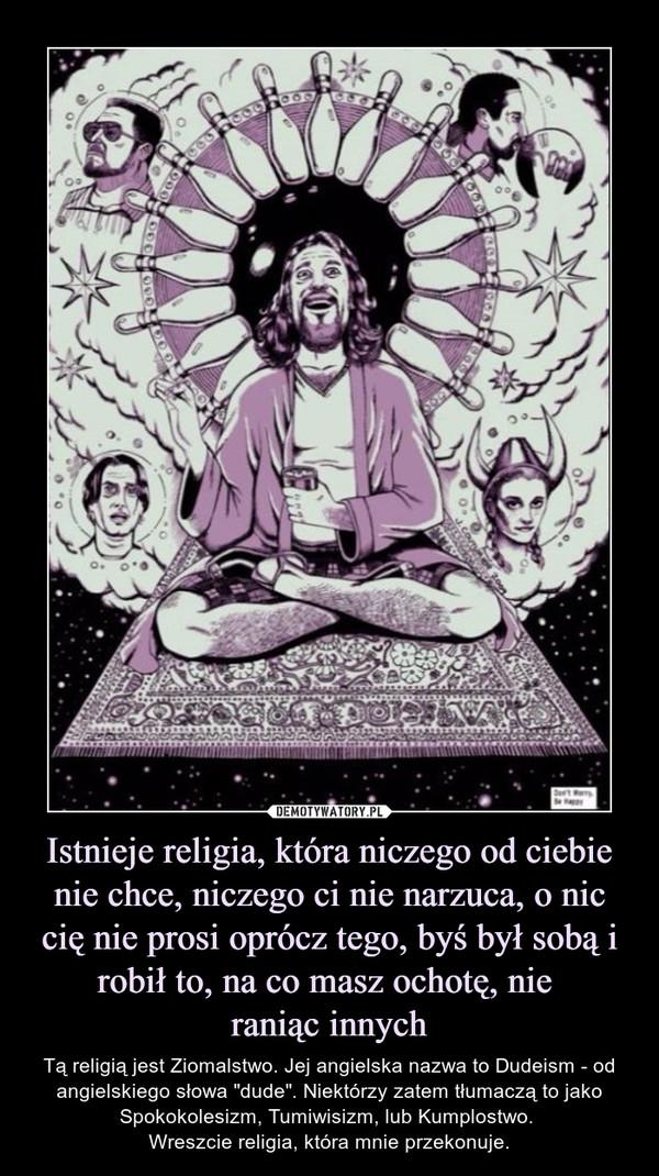 """Istnieje religia, która niczego od ciebie nie chce, niczego ci nie narzuca, o nic cię nie prosi oprócz tego, byś był sobą i robił to, na co masz ochotę, nie raniąc innych – Tą religią jest Ziomalstwo. Jej angielska nazwa to Dudeism - od angielskiego słowa """"dude"""". Niektórzy zatem tłumaczą to jako Spokokolesizm, Tumiwisizm, lub Kumplostwo. Wreszcie religia, która mnie przekonuje."""