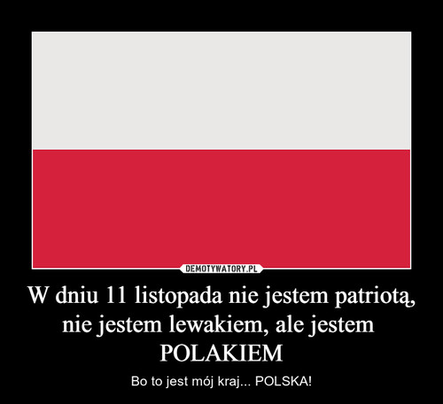 W dniu 11 listopada nie jestem patriotą, nie jestem lewakiem, ale jestem  POLAKIEM