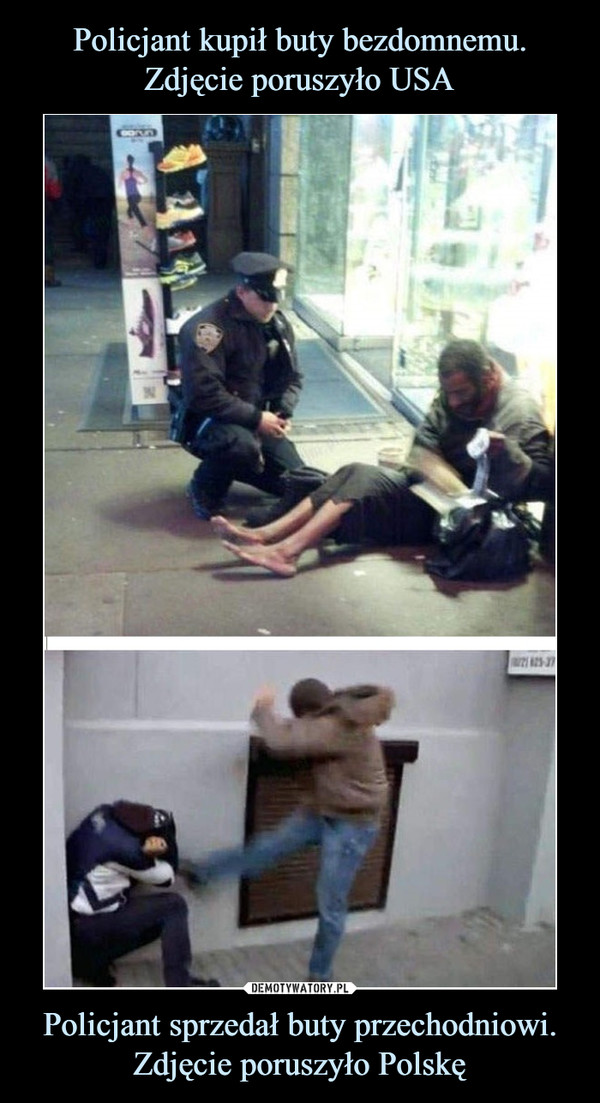 Policjant sprzedał buty przechodniowi.Zdjęcie poruszyło Polskę –