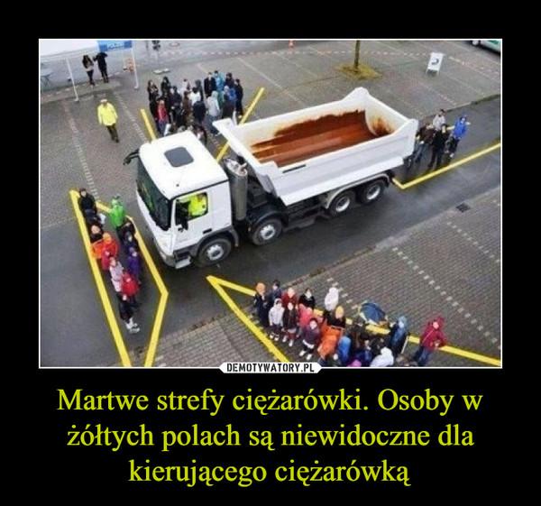 Martwe strefy ciężarówki. Osoby w żółtych polach są niewidoczne dla kierującego ciężarówką –