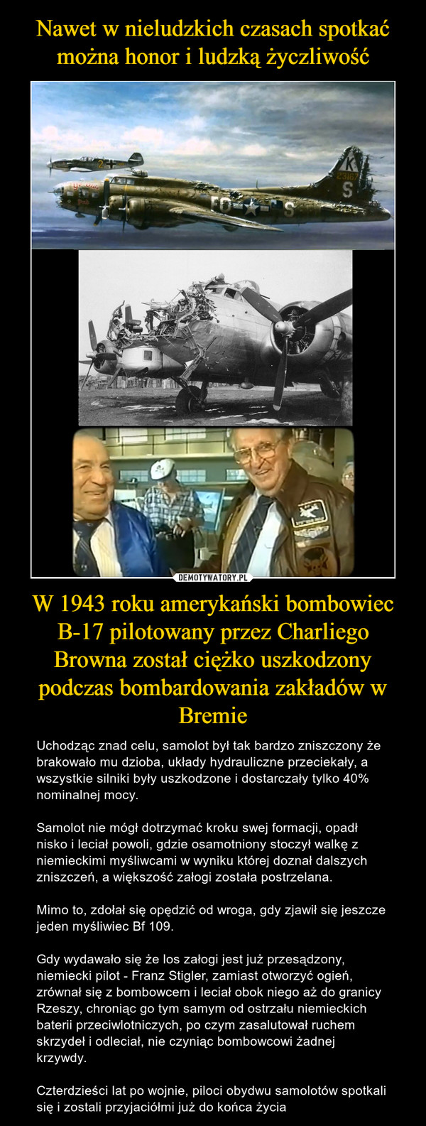 W 1943 roku amerykański bombowiec B-17 pilotowany przez Charliego Browna został ciężko uszkodzony podczas bombardowania zakładów w Bremie – Uchodząc znad celu, samolot był tak bardzo zniszczony że brakowało mu dzioba, układy hydrauliczne przeciekały, a wszystkie silniki były uszkodzone i dostarczały tylko 40% nominalnej mocy. Samolot nie mógł dotrzymać kroku swej formacji, opadł nisko i leciał powoli, gdzie osamotniony stoczył walkę z niemieckimi myśliwcami w wyniku której doznał dalszych zniszczeń, a większość załogi została postrzelana. Mimo to, zdołał się opędzić od wroga, gdy zjawił się jeszcze jeden myśliwiec Bf 109. Gdy wydawało się że los załogi jest już przesądzony, niemiecki pilot - Franz Stigler, zamiast otworzyć ogień, zrównał się z bombowcem i leciał obok niego aż do granicy Rzeszy, chroniąc go tym samym od ostrzału niemieckich baterii przeciwlotniczych, po czym zasalutował ruchem skrzydeł i odleciał, nie czyniąc bombowcowi żadnej krzywdy.Czterdzieści lat po wojnie, piloci obydwu samolotów spotkali się i zostali przyjaciółmi już do końca życia