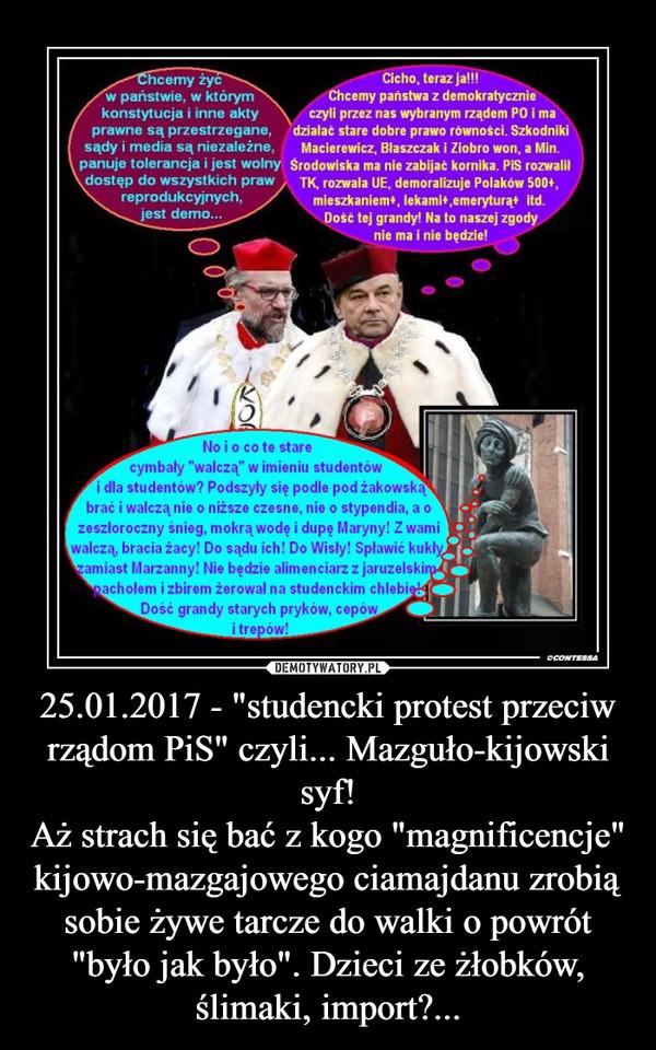 """25.01.2017 - """"studencki protest przeciw rządom PiS"""" czyli... Mazguło-kijowski syf!Aż strach się bać z kogo """"magnificencje"""" kijowo-mazgajowego ciamajdanu zrobią sobie żywe tarcze do walki o powrót """"było jak było"""". Dzieci ze ż –"""