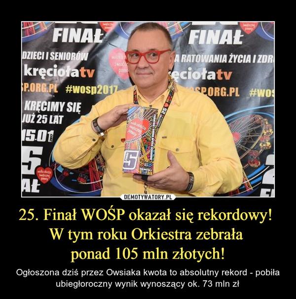 25. Finał WOŚP okazał się rekordowy! W tym roku Orkiestra zebrała ponad 105 mln złotych! – Ogłoszona dziś przez Owsiaka kwota to absolutny rekord - pobiła ubiegłoroczny wynik wynoszący ok. 73 mln zł