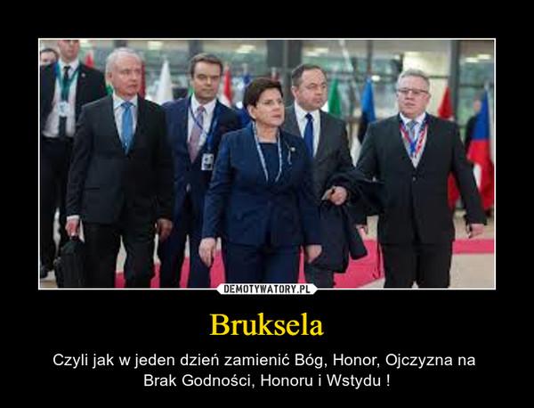 Bruksela – Czyli jak w jeden dzień zamienić Bóg, Honor, Ojczyzna na Brak Godności, Honoru i Wstydu !