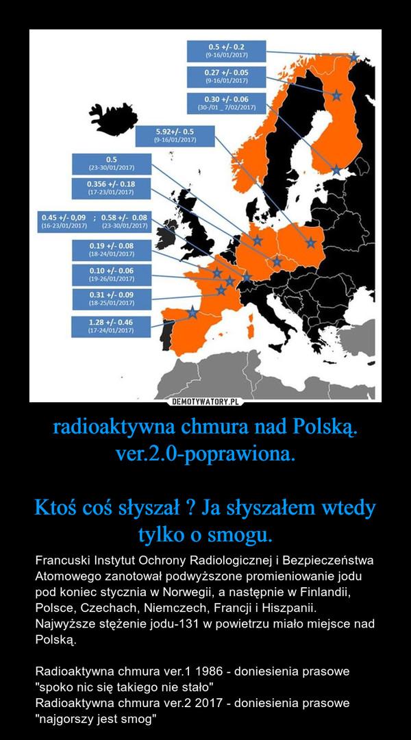 """radioaktywna chmura nad Polską.ver.2.0-poprawiona.Ktoś coś słyszał ? Ja słyszałem wtedy tylko o smogu. – Francuski Instytut Ochrony Radiologicznej i Bezpieczeństwa Atomowego zanotował podwyższone promieniowanie jodu pod koniec stycznia w Norwegii, a następnie w Finlandii, Polsce, Czechach, Niemczech, Francji i Hiszpanii. Najwyższe stężenie jodu-131 w powietrzu miało miejsce nad Polską. Radioaktywna chmura ver.1 1986 - doniesienia prasowe """"spoko nic się takiego nie stało""""Radioaktywna chmura ver.2 2017 - doniesienia prasowe""""najgorszy jest smog"""""""