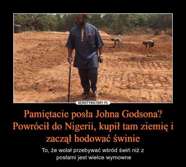 Pamiętacie posła Johna Godsona? Powrócił do Nigerii, kupił tam ziemię i zaczął hodować świnie – To, że wolał przebywać wśród świń niż z posłami jest wielce wymowne