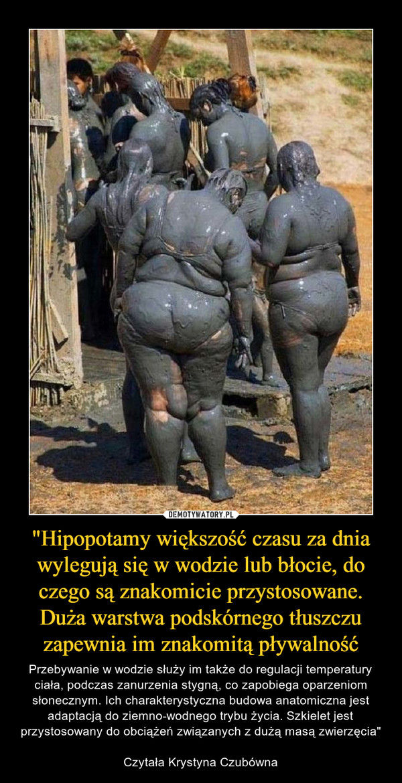 """""""Hipopotamy większość czasu za dnia wylegują się w wodzie lub błocie, do czego są znakomicie przystosowane. Duża warstwa podskórnego tłuszczu zapewnia im znakomitą pływalność – Przebywanie w wodzie służy im także do regulacji temperatury ciała, podczas zanurzenia stygną, co zapobiega oparzeniom słonecznym. Ich charakterystyczna budowa anatomiczna jest adaptacją do ziemno-wodnego trybu życia. Szkielet jest przystosowany do obciążeń związanych z dużą masą zwierzęcia""""Czytała Krystyna Czubówna"""